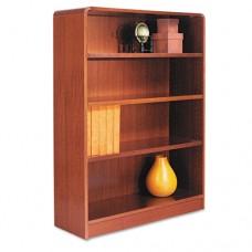 Radius Corner Wood Bookcase, Four-Shelf, 35-5/8w X 11-3/4d X 48h, Medium Cherry