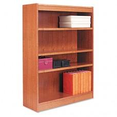 Square Corner Wood Veneer Bookcase, Four-Shelf, 35-5/8 X 11-3/4 X 48, Medium Oak