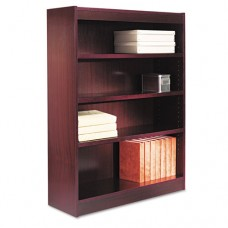 Square Corner Wood Veneer Bookcase, Four-Shelf, 35-5/8 X 11-3/4 X 48, Mahogany