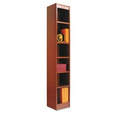 Narrow Profile Bookcase, Wood Veneer, Six-Shelf, 12w X 72h, Medium Cherry