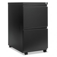Two-Drawer Metal Pedestal File With Full-Length Pull, 14-7/8w X 23-1/8d, Black