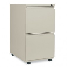 Two-Drawer Metal Pedestal File With Full-Length Pull, 14-7/8w X 23-1/8d, Putty