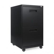 Two-Drawer Metal Pedestal File, 14 7/8w X 19-1/8d X 27-3/4h, Black