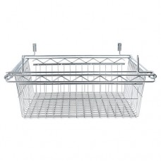 Sliding Wire Basket For Wire Shelving, 18w X 18d X 8h, Silver