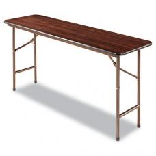 Wood Folding Table, Rectangular, 60w X 18d X 29h, Walnut