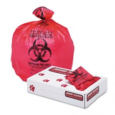 "Health Care ""biohazard"" Printed Liners, 1.3mil, 24 X 23, Red, 500/carton"