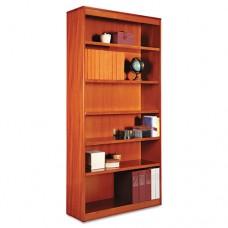 Square Corner Wood Bookcase, Six-Shelf, 35-5/8w X 11-3/4d X 72h, Medium Cherry