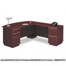 """72""""w Rh Double Pedestal L-Desk (b/b/f,f/f) Box 1 Milano 2, Harvest Cherry"""
