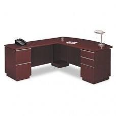 """72""""w Lh Double Pedestal L-Desk (b/b/f,f/f) Box 2 Milano 2, Harvest Cherry"""