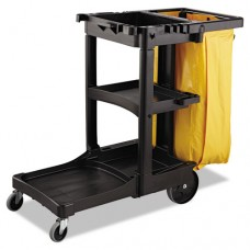 Vinyl Cleaning Cart Bag, 34 Gal, Yellow, 17 1/2w X 10 1/2d X 33h