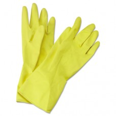 Flock-Lined Latex Cleaning Gloves, Medium, Yellow, 12 Pairs