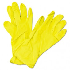 Flock Lined Latex Gloves, Yellow, 12 In. Length, Medium, 12 Pairs
