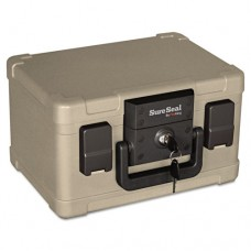 Fire And Waterproof Chest, 0.15 Ft3, 12-1/5w X 9-4/5d X 7-3/10h, Taupe