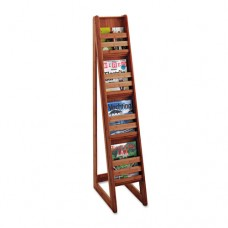 Bamboo Magazine/pamphlet Floor Display, 10w X 18-1/4d X 56-1/2h, Cherry