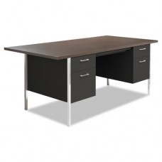Double Pedestal Steel Desk, Metal Desk, 72w X 36d X 29-1/2h, Walnut/black