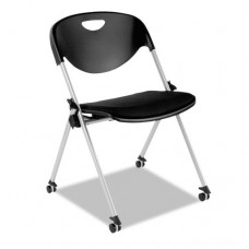 Sl Series Nesting Stack Chair With Casters, Black, 2/carton