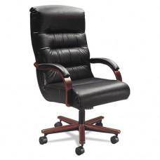 Horizon Collection Executive High Back Chair, Black Leather/mahogany