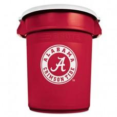 Team Brute Round Container W/lid, Alabama Crim Tide, 32gal, Plastic, Red/white