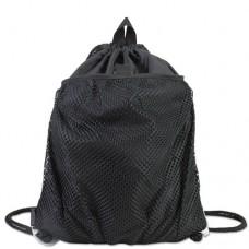 Front Mesh Pocket Drawstring Cinch Sack, Black