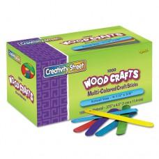 Colored Wood Craft Sticks, 4 1/2 X 3/8, Wood, Assorted, 1000/box