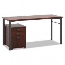 Manage Series Table Desk With Pedestal, 60w X 23-1/2d X 29-1/2h, Chestnut
