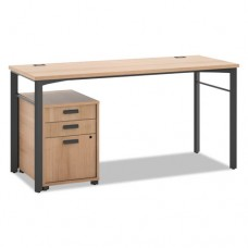 Manage Series Table Desk With Pedestal, 60w X 23-1/2d X 29-1/2h, Wheat