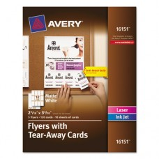 Flyers W/tear-Away Cards, 8 1/2 X 11, White, 5 Flyers/120 Cards
