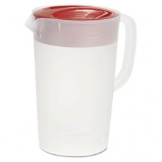 Vplastic Pitcher, 1gal, Translucent White/red, Pour/strain Lid