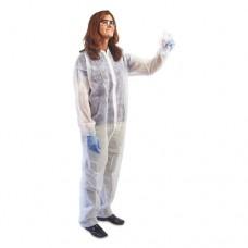 Disposable Coveralls With Collar, Large, White, Spun Bond Polypropylene, 25/ct