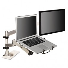 Monitor Arm Laptop Adapter, 3 3/4 X 12 1/4, Silver/black
