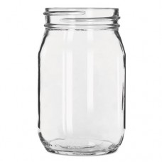 Glass Drinking Jar Without Handle, 16 Ounces, Clear, 12/carton