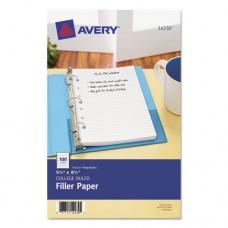 Mini Binder Filler Paper, 5-1/2 X 8 1/2, 7-Hole Punch, College Rule, 100/pack