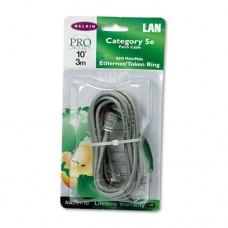 Cat5e Crimped Patch Cable, Rj45 Connectors, 10 Ft., Gray