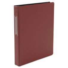"""Economy Non-View Round Ring Binder With Label Holder, 1"""" Capacity, Burgundy"""