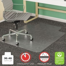 Supermat Frequent Use Chair Mat, Medium Pile Carpet, Beveled, 36x48 W/lip, Clear