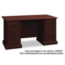 "60""w Double Ped Desk (b/b/f, F/f) Box 2 Of 2 Syndicate, Harvest Cherry"