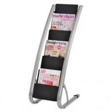 Literature Floor Rack, Six Pocket, 13 1/3 X 19 2/3 X 36 2/3, Silver Gray/black