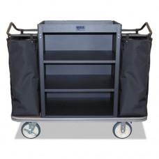 Standard Housekeeping Cart, 22 X 55 X 47, 500 Lbs. Capacity, Black