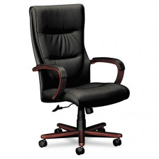 Vl844 Series High-Back Swivel/tilt Chair, Black Leather/mahogany
