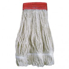 Wideband Looped-End Mop Heads, 20 Oz, Natural W/red Band, 12/carton