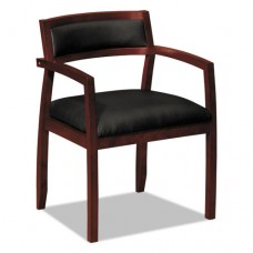 Vl850 Series Wood Guest Chairs W/black Leather Seat/upholstered Back, Mahogany