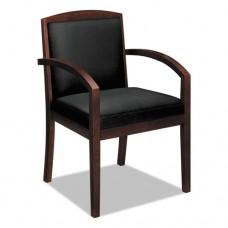 Vl850 Series Wood Guest Chair, Black Leather Upholstery W/mahogany Veneer
