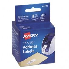 Thermal Printer Address Labels, 1 1/8 X 3 1/2, White, 130/roll, 2 Rolls