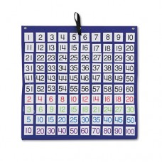 Hundreds Pocket Chart With 100 Clear Pockets, Colored Number Cards, 26 X 26