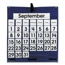 Monthly Calendar 43-Pocket Chart With Day/week Cards, Blue, 25 X 28 1/2