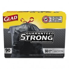 Drawstring Large Trash Bags, 30 X 33, 30gal, 1.1mil, Black, 90/carton