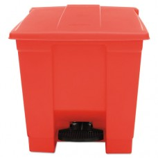 Indoor Utility Step-On Waste Container, Square, Plastic, 8gal, Red