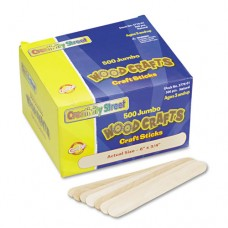 Natural Wood Craft Sticks, Jumbo Size, 6 X 3/4, Wood, Natural, 500/box