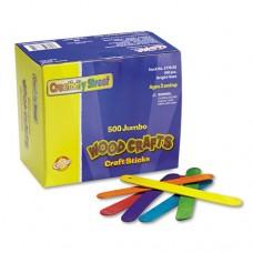 Colored Wood Craft Sticks, Jumbo, 6 X 3/4, Wood, Assorted, 500/box