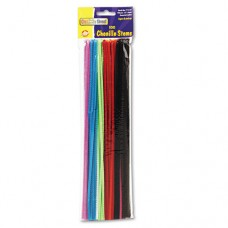 """Regular Stems, 12"""" X 4mm, Metal Wire, Polyester, Assorted, 100/pack"""
